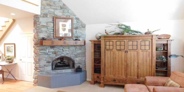 relaxing fire place in home #25 at StoneRidge Townhomes